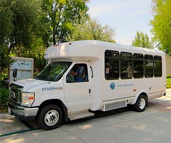 Access Paratransit Van at Henry Mayo Newhall Hospital, providing accessible ADA transportation in Los Angeles. [Photo Credit: LAtourist.com]
