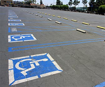 Accessible Parking at the L.A. Sorts Arena, in Exposition Park near downtown Los Angeles. [Photo Credit: LAtourist.com]
