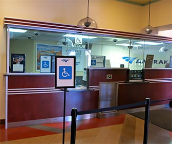 Amtrak Accessible Ticket Window at Union Station in downtown Los Angeles. [Photo Credit: LAtourist.com]