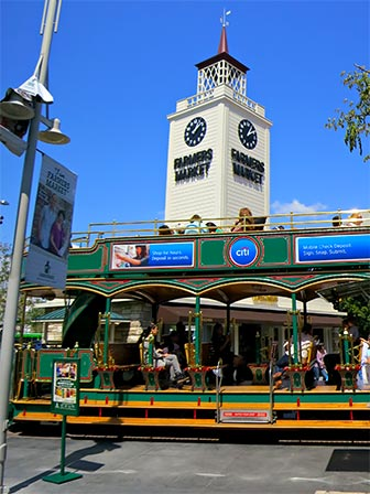 The Trolley that connects Farmers Market with The Grove has a wheelchair ramp that extends as needed. [Photo Credit: LAtourist.com]
