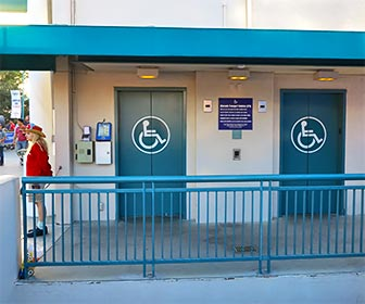 Alternate Transport Vehicle entrance at Universal Studios, Hollywood. This is an accessible alternative to the long escalator that takes you to the lower studio lot. [Photo Credit: LAtourist.com]