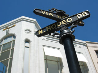 Intersection of Rodeo Drive and Via Rodeo, at the north entrance to Two Rodeo Drive, Beverly Hills. [Photo Credit: LAtourist.com]