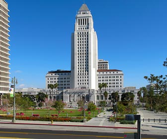 City Hall from Grand Park in downtown Los Angeles. [Photo Credit: LAtourist.com]