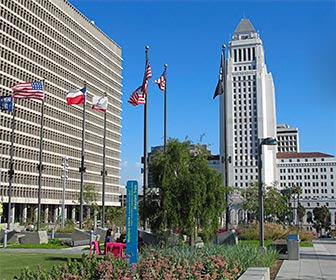 Court of Flags in Grand Park near City Hall in downtown Los Angeles. [Photo Credit: LAtourist.com]