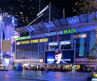 Nokia Plaza at L.A. Live on downtown Los Angeles. [Photo Credit: LAtourist.com]