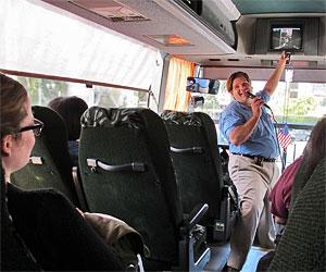 Esotouric Bus Adventures on the Raymond Chandler Tour. [Photo Credit: LAtourist.com]