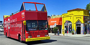 StarLine Hop-on Hop-off Bus on Melrose Avenue. [Photo Credit: LAtourist.com]