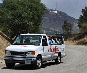 StarLine Tours Van on Mulholland Drive. [Photo Credit: LAtourist.com]