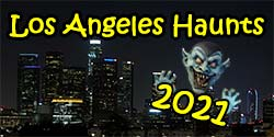 Click this photo to find Halloween Haunted Houses, Mazes, Yard Haunts and other haunts in Los Angeles and nearby. The background of this image is an actual picture of the Los Angeles skyline, as seen from Dodger Stadium at night. The ghoul is simply a photo of a Halloween decoration. [Photo Credit: LAtourist.com]
