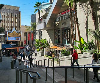 Entrance to Hollywood & Highland Center on Hollywood Boulevard. El Capitan Theatre can be seen across the street. [Photo Credit: LAtourist.com]