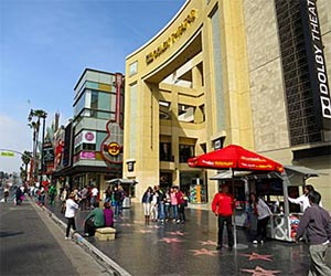 Hollywood Boulevard in front of Hollywood and Highland, including Walk of Fame stars on the sidewalk, the entrance to the Dolby Theatre and the Hard Rock Cafe. [Photo Credit: LAtourist.com]