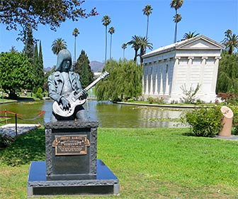 Johnny Ramone Marker at Hollywood Forever Cemetery. There are many more celebrities interred or memorialized at the cemetery. [Photo Credit: LAtourist.com]