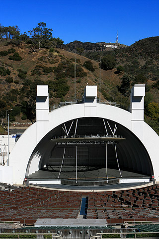 Hollywood Sign from the bleachers at the Hollywood Bowl. You can park for free and visit the amphitheatre most mornings and early afternoon. [Photo Credit: LAtourist.com]