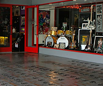 Hollywood's RockWalk at the Guitar Center on Sunset Boulevard in West Hollywood. The entrance contains handprints and memorabilia from famous musicians. [Photo Credit: LAtourist.com]