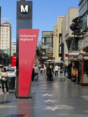 Hollywood Boulevard near the Hollywood and Highland Metro Station. [Photo Credit: LAtourist.com]
