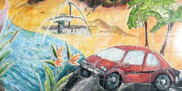 Encounter mural in Ballona Creek wash, Culver City. [Photo Credit: LAtourist.com]