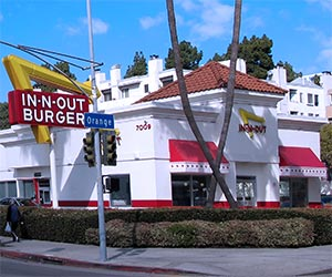 In-N-Out Burger, on Sunset Boulevard in Hollywood, one block from Hollywood Boulevard and the Walk of Fame. [Photo Credit: LAtourist.com]