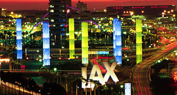 LAX Gateway Pylons - a public art display near LAX,  the columns of light greet arriving aircraft to LAX. [Photo Credit: Marina del Rey Convention and Visitors Bureau]