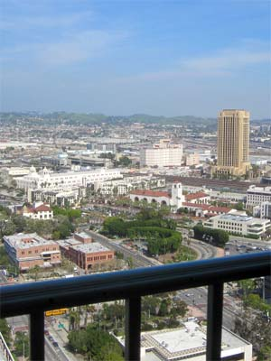 Union Station from the Observation Deck at City Hall in Downtown Los Angeles. [Photo Credit: LAtourist.com]