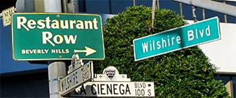 Beverly Hills Restaurant Row on La Cienega Boulevard, near Los Angeles. [Photo Credit: LAtourist.com]