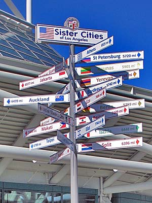 Sister Cities Sign at the Convention Center in Downtown Los Angeles. [Photo Credit: LAtourist.com]