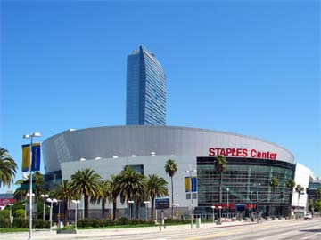Staples Center arena in Downtown Los Angeles, with the Ritz-Carlton in the background. [Photo Credit: LAtourist.com]
