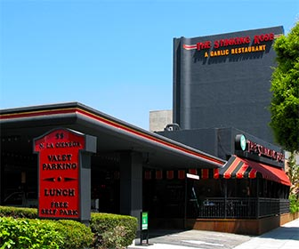 The Stinking Rose Restaurant at Beverly Hills Restaurant Row on La Cienega Boulevard, near Los Angeles. [Photo Credit: LAtourist.com]
