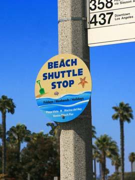 Free Beach Shuttle Bus Stop in Marina del Rey. [Photo Credit: LAtourist.com]
