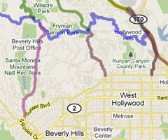 Mulholland Drive Access Routes. [Photo Credit: Google Maps]