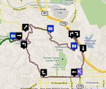 Mulholland Drive Auto Tour on Google Maps. [Photo Credit: Google Maps]