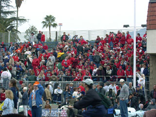 Grandstand seating at the Tournament of Roses Parade in Pasadena. [Photo Credit: LAtourist.com]