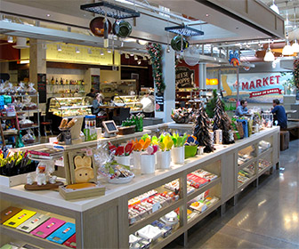 Inside The Market at Santa Monica Place Shopping Mall, At The Market you can find  locally produced fruit, flowers, prepared foods, arts & crafts, and other wares, from local sources. [Photo Credit: LAtourist.com]