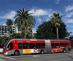 Metro Rapid Bus in Santa Monica. [Photo Credit: LAtourist.com]