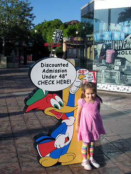 Many theme parks, such as Universal Studios, Hollywood offer discounted admission for children under a certain height or age. [Photo Credit: LAtourist.com]